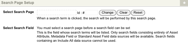 The Search Page Setup section of the Details screen