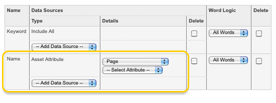 The Asset Attribute Page type in the Search Fields list