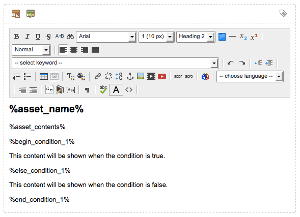 A condition keyword structure in the WYSIWYG Editor