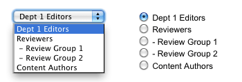 The Dropdown and Radio Button list formats