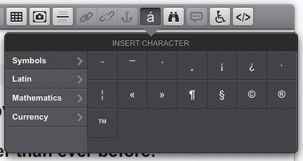 The Insert Character pop-up