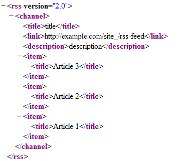 A preview of the XML output
