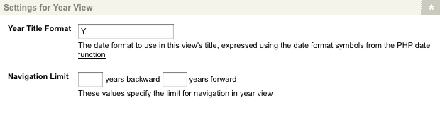 The Settings for Year View section of the Details screen