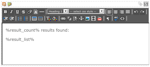 The WYSIWYG Editor on the Results Page Layout Bodycopy