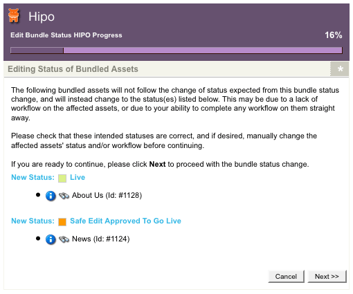 The HIPO Job pop-up when editing the status of bundled assets