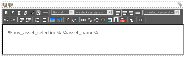 The WYSIWYG Editor on the Default Format Bodycopy of the Item Asset Listing