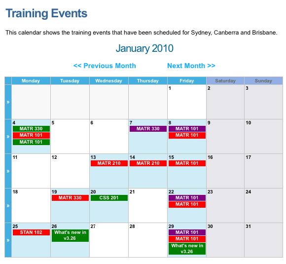 An example Calendar Page