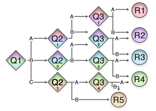 The process of a Decision Tree with Select question types