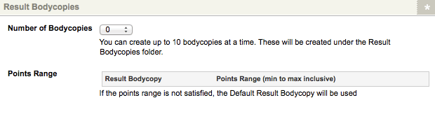 The Result Bodycopies section of the Details Screen