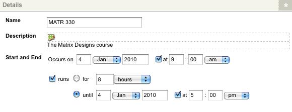 The Create New Single Calendar Event screen