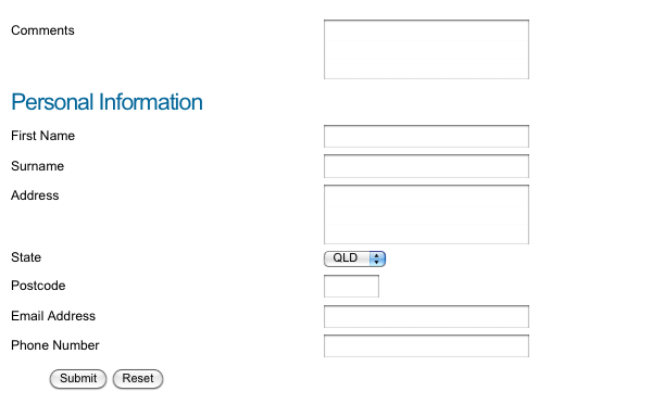 The default layout of the Custom Form