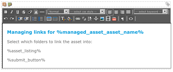 The WYSIWYG Editor on the Page Contents Format Bodycopy