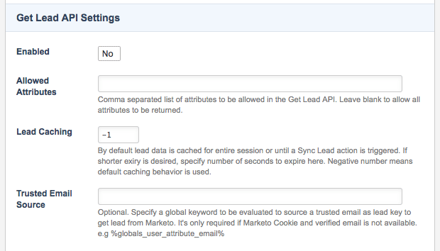 The Get Lead API Settings section of the Details screen