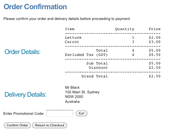 A Promotional Code applied on the Confirmation Page
