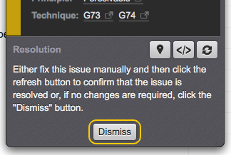 The Dismiss button