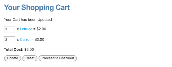 The Cart with items selected to purchase