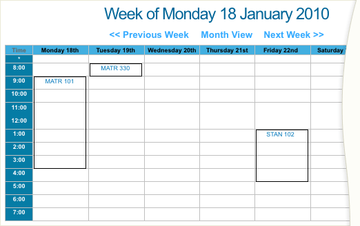 The Week View Calendar format