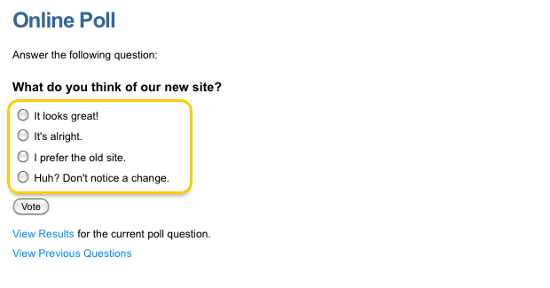 An example Online Poll (option list)