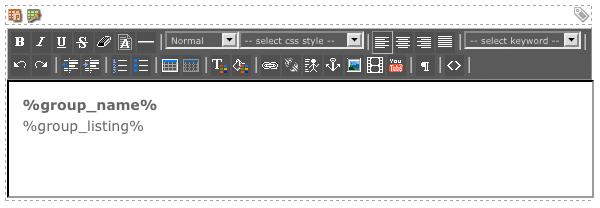 The WYSIWYG Editor on the Custom Group Format Bodycopy