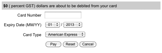 The default layout of the SecurePay Direct Post Payment Gateway