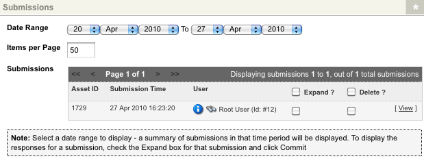 The Submissions section of the Submission Logs screen