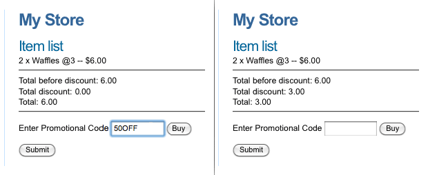 Entering a Promotional Code on the Ecommerce Form Page