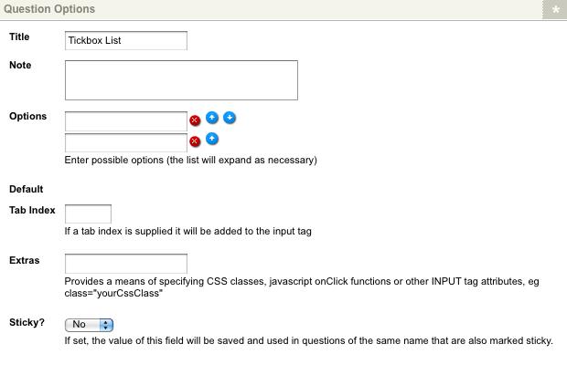 The Tickbox List Question Options