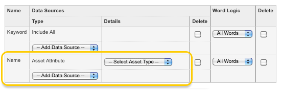 The Asset Attribute type in the Search Fields list