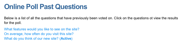 An example Online Poll (past questions)