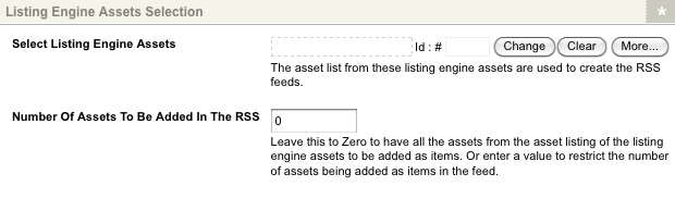 The Listing Engine Assets section of the Details screen
