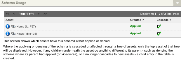 The Shema Usage section of the Usage screen of a Workflow Schema