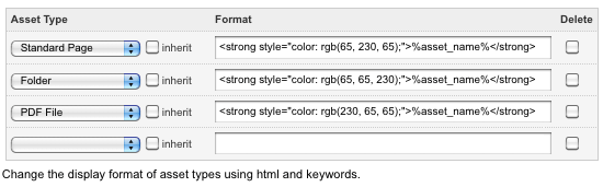 Asset types configured in the Display Formats fields