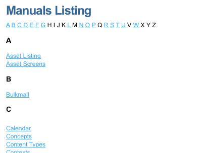 A Single Page A-Z listing