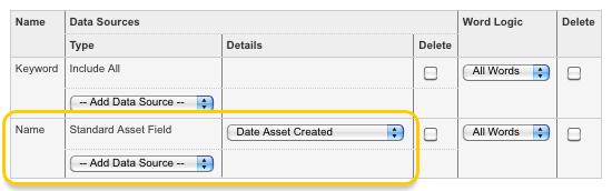 The Standard Asset Field type in the Search Fields list