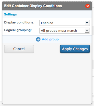 The Container Display Conditions pop-up
