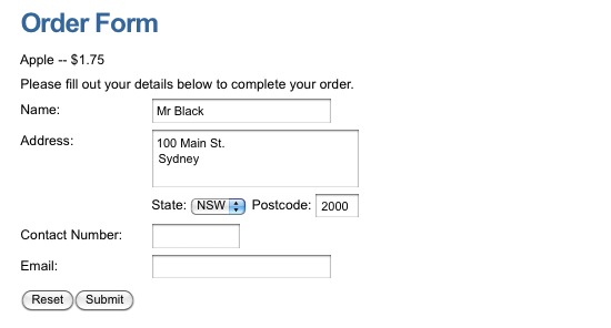 The Ecommerce Form Page