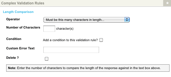 The Length Comparison Complex Validation Rule for a Numeric question