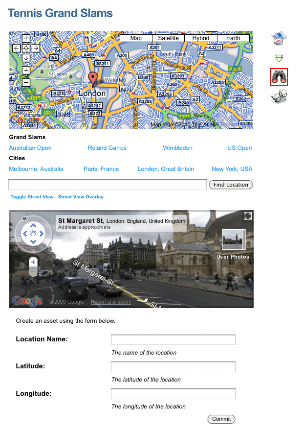 The Create Location Asset Builder on the Google Map page