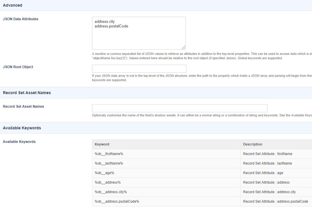 JSON Data Source - Data - Manuals   Squiz Matrix Community