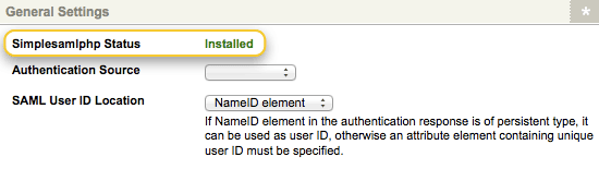 The SimpleSAMLphp Status field on the Details screen of the SAML Account Manager