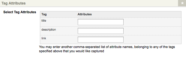The Tag Attributes section of the Details screen