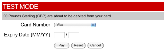 The DPS Payment Gateway in Test Mode