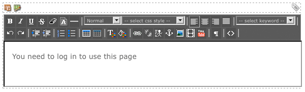The WYSIWYG Editor on the Not Logged In Layout Bodycopy