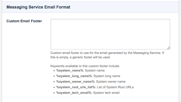 The Messaging Service Email Format section