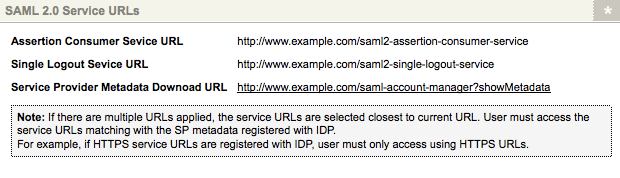 The SAML 2.0 Service URLs section of the Details Screen