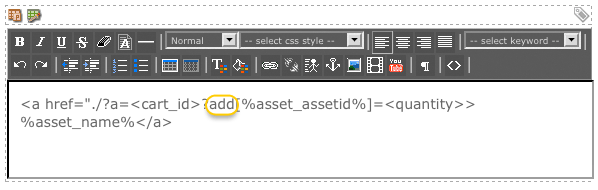 The dynamic parameter added to the HTML structure