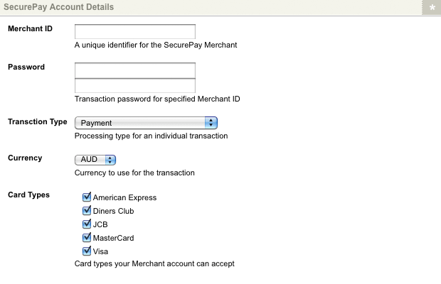 The SecurePay Account Details section of the Details screen