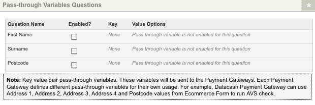 The Pass-through Variables Questions section of the Ecommerce Rules screen
