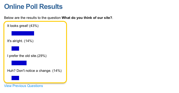 An example Online Poll (Result list)