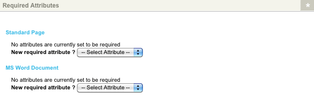 The Required Attributes section of the Required Attributes screen